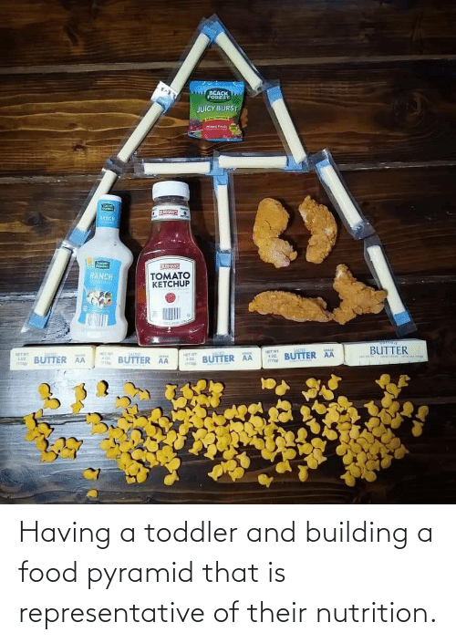 Representative: Having a toddler and building a food pyramid that is representative of their nutrition.