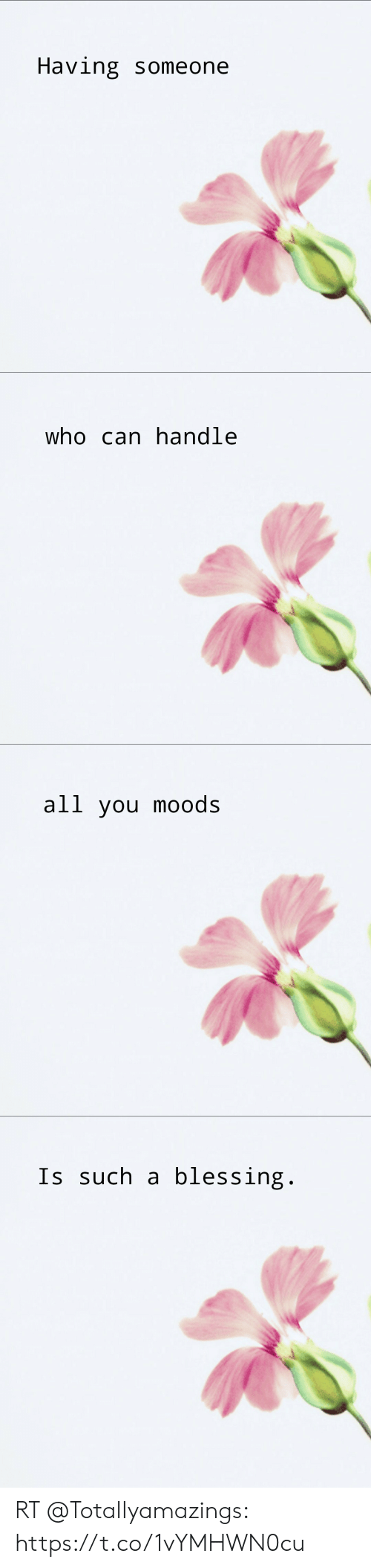Funny, Who, and Can: Having someone   who can handle   all you moods   Is such a blessing. RT @TotaIIyamazings: https://t.co/1vYMHWN0cu