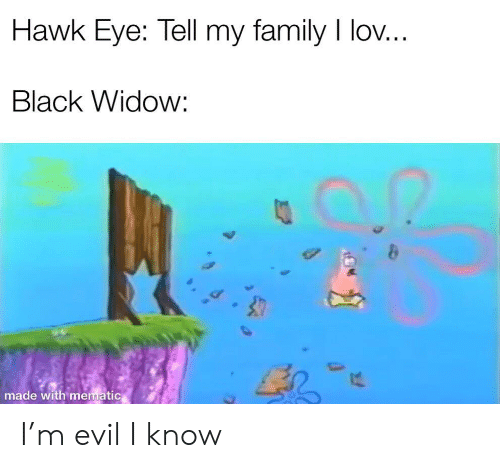 Family, Black Widow, and Black: Hawk Eye: Tell my family I lov...  Black Widow:  made with mematic I'm evil I know