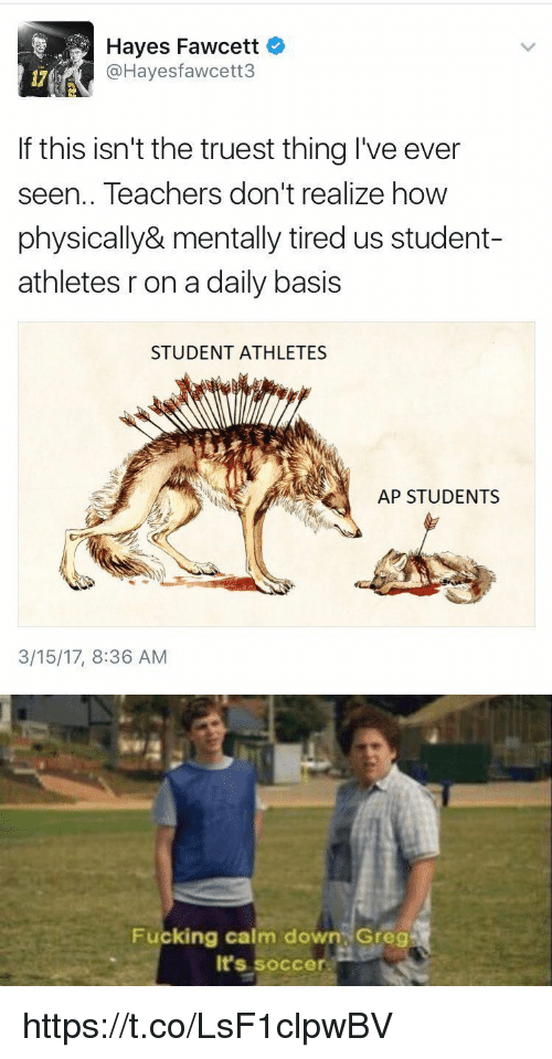 Fucking, Soccer, and Girl Memes: Hayes Fawcett  @Hayes fawcett  If this isn't the truest thing I've ever  seen.. Teachers don't realize how  physically& mentally tired us student-  athletes r on a daily basis  STUDENT ATHLETES  AP STUDENTS  3/15/17, 8:36 AM   Fucking calm down Greg  It's Soccer https://t.co/LsF1clpwBV