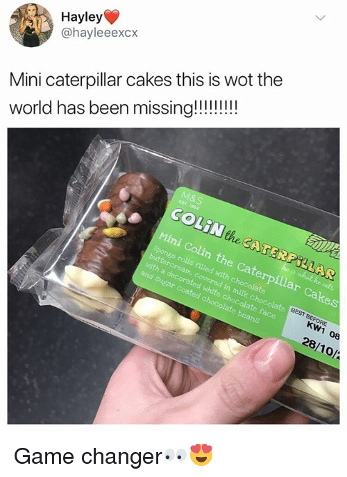 Chocolate, Game, and Game Changer: Hayley  @hayleeexcx  Mini caterpillar cakes this is wot the  COLiN the CATERPILLAR  Mini Colin the Caterpillar Cakes  Sponge rolls filled with chocolate  with a decorated white c  in milk chocolate  and Sugar coated c  te face  KW1 08  28/10/ Game changer👀😍