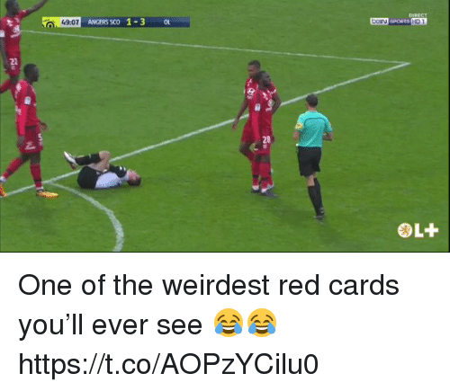 Soccer, Red, and One: HD 1  49:07  ANGERS SCO 1-3 O  28 One of the weirdest red cards you'll ever see 😂😂 https://t.co/AOPzYCilu0