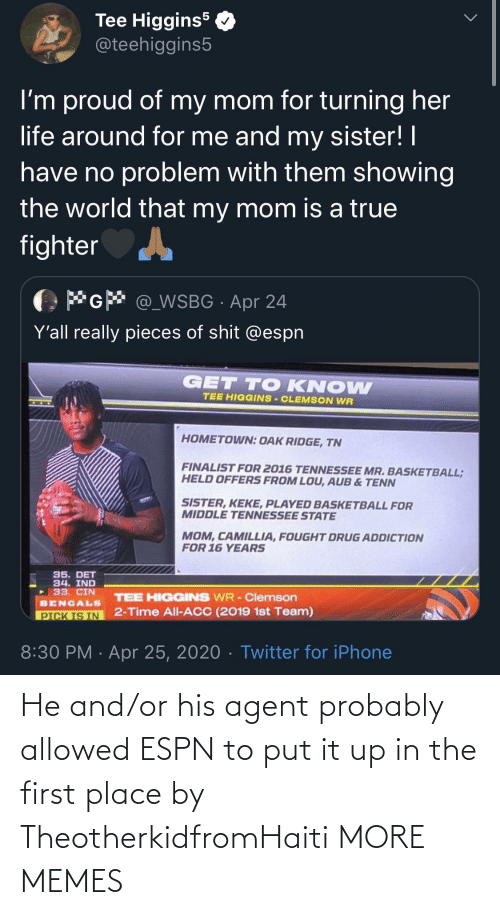 agent: He and/or his agent probably allowed ESPN to put it up in the first place by TheotherkidfromHaiti MORE MEMES
