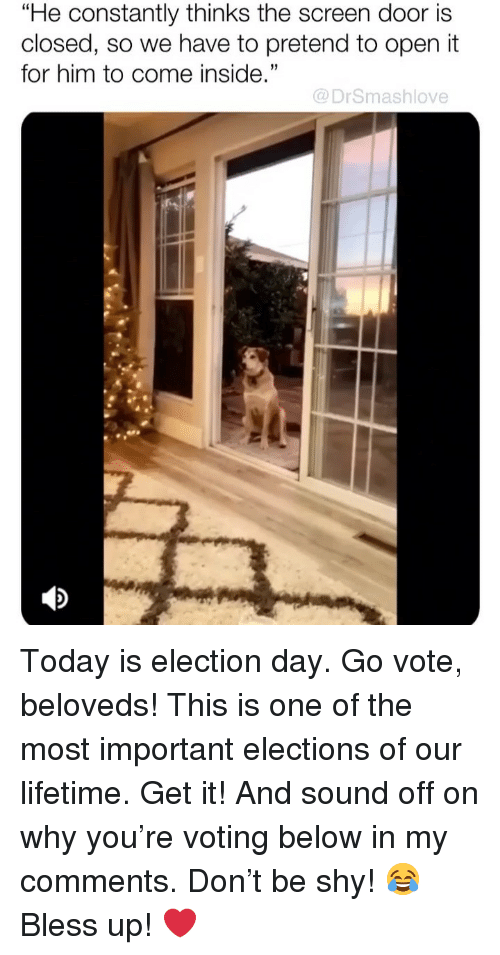 """Bless Up, Memes, and Lifetime: """"He constantly thinks the screen door is  closed, so we have to pretend to open it  for him to come inside.""""  35  @DrSmashlove Today is election day. Go vote, beloveds! This is one of the most important elections of our lifetime. Get it! And sound off on why you're voting below in my comments. Don't be shy! 😂 Bless up! ❤️"""