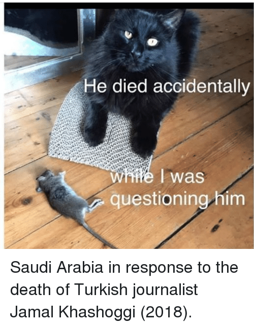 Death, Saudi Arabia, and Him: He died accidentally  was  questioning him Saudi Arabia in response to the death of Turkish journalist Jamal Khashoggi (2018).