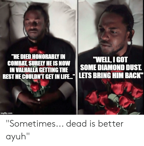 "Life, Diamond, and DnD: ""HE DIED HONORABLY IN  COMBAT SURELY HE IS NOW  IN VALHALLA GETTING THE  ""WELL, I GOT  SOME DIAMOND DUST  REST HE COULDNT GET IN LIFE LETS BRING HIM BACK"" ""Sometimes... dead is better ayuh"""