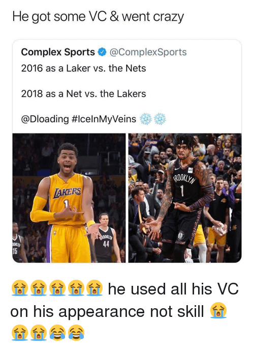 Complex, Crazy, and Los Angeles Lakers: He got some VC & went crazy  Complex Sports @ComplexSports  2016 as a Laker vs. the Nets  2018 as a Net vs. the Lakers  @Dloading #celnMyVeins eff  AKERS  15 😭😭😭😭😭 he used all his VC on his appearance not skill 😭😭😭😂😂