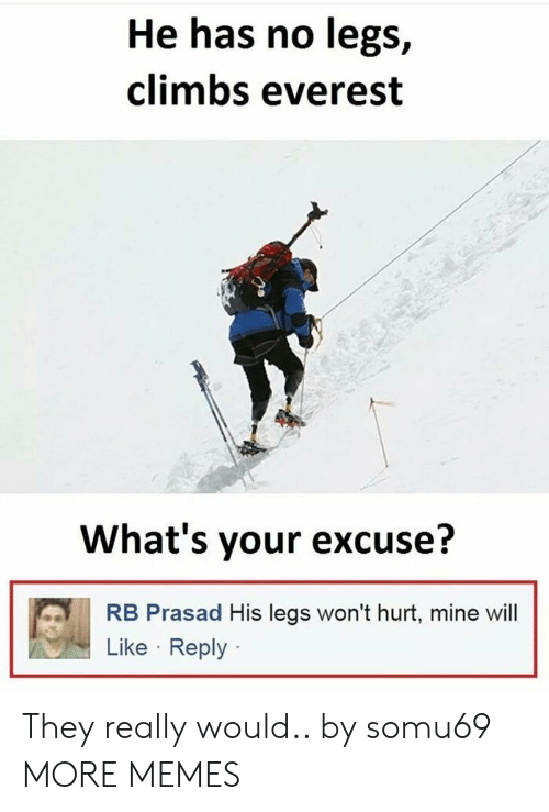 Theye: He has no legs,  climbs everest  What's your excuse?  RB Prasad His legs won't hurt, mine wil  Like Reply They really would.. by somu69 MORE MEMES