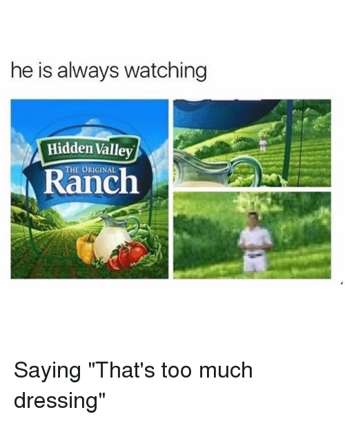 "Funny, Too Much, and Hidden: he is always watching  Hidden Valley  THE ORIGINAL  A Ranch Saying ""That's too much dressing"""