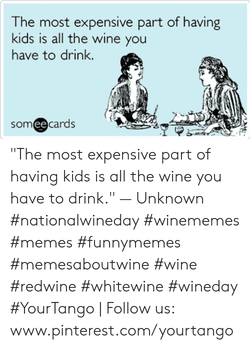 "Www Pinterest Com: he most expensive part of having  kids is all the wine you  have to drink.  someecards ""The most expensive part of having kids is all the wine you have to drink."" — Unknown #nationalwineday #winememes #memes #funnymemes #memesaboutwine #wine #redwine #whitewine #wineday #YourTango 