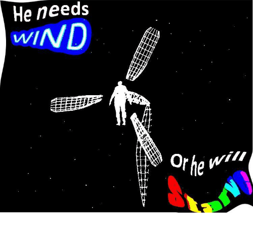Needs: He needs  WIND  Or he wil Wïńd