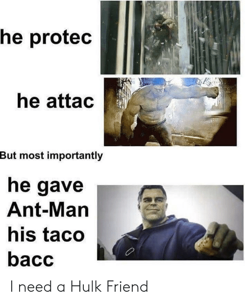 Hulk, A Hulk, and Ant Man: he protec  he attac  But most importantly  he gave  Ant-Man  his taco  bacc I need a Hulk Friend