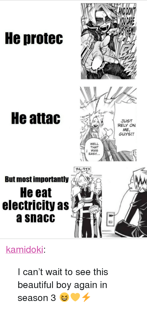 """That Was Easy: He protec  He attac  JUST  RELY ON  ME  GUYS!!  WELL  THAT  WAS  EASY...  カレーラエス  But most importantly: ,, 》  He eat  electricity as  a snacC <p><a href=""""https://kamidoki.tumblr.com/post/172611909151/i-cant-wait-to-see-this-beautiful-boy-again-in"""" class=""""tumblr_blog"""">kamidoki</a>:</p>  <blockquote><p>I can't wait to see this beautiful boy again in season 3 😆💛⚡</p></blockquote>"""