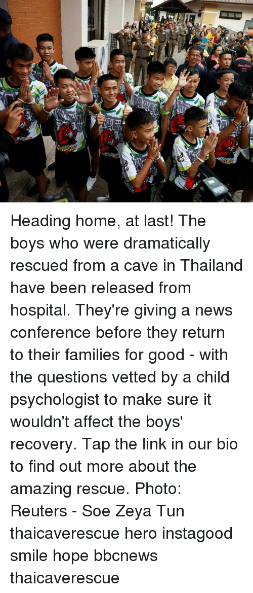 Vetted: Heading home, at last! The boys who were dramatically rescued from a cave in Thailand have been released from hospital. They're giving a news conference before they return to their families for good - with the questions vetted by a child psychologist to make sure it wouldn't affect the boys' recovery. Tap the link in our bio to find out more about the amazing rescue. Photo: Reuters - Soe Zeya Tun thaicaverescue hero instagood smile hope bbcnews thaicaverescue