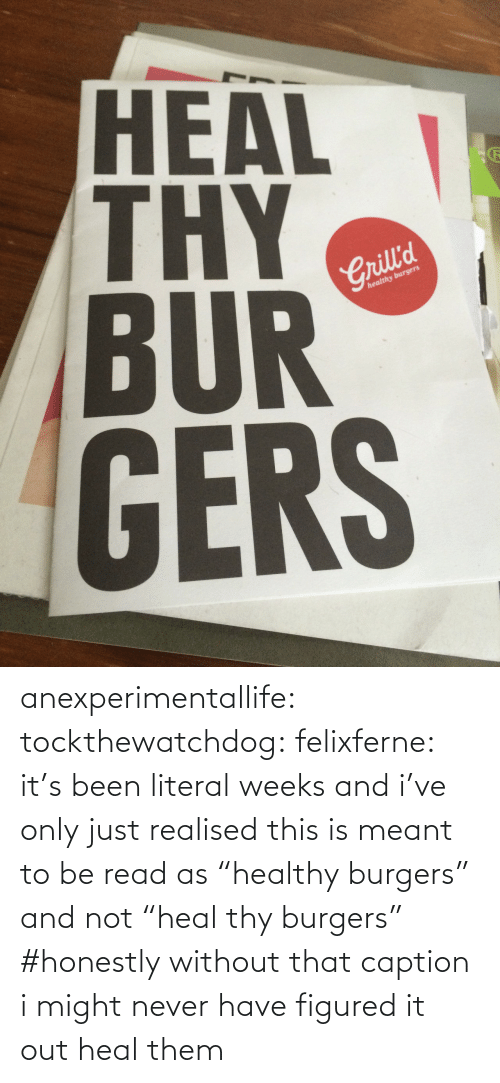 "caption: HEAL  BUR  GERS  2  Crill'd  healthy burgers anexperimentallife: tockthewatchdog:  felixferne:  it's been literal weeks and i've only just realised this is meant to be read as ""healthy burgers"" and not ""heal thy burgers""  #honestly without that caption i might never have figured it out   heal them"