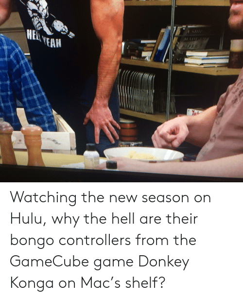Donkey, Hulu, and Yeah: HEAL YEAH  4 Watching the new season on Hulu, why the hell are their bongo controllers from the GameCube game Donkey Konga on Mac's shelf?