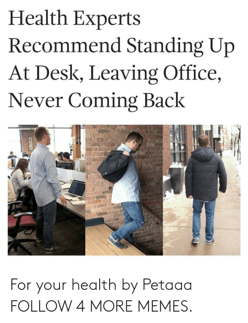 Dank, Memes, and Reddit: Health Experts  Recommend Standing Up  At Desk, Leaving Office,  Never Coming Back For your health by Petaaa FOLLOW 4 MORE MEMES.