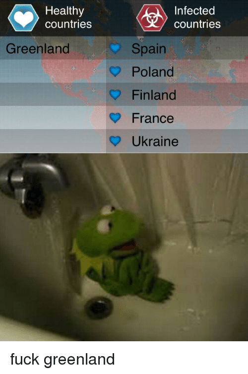 Reddit, France, and Fuck: Healthy  countries  Infected  countries  Spain  Poland  Finland  France  ? Ukraine  Greenland