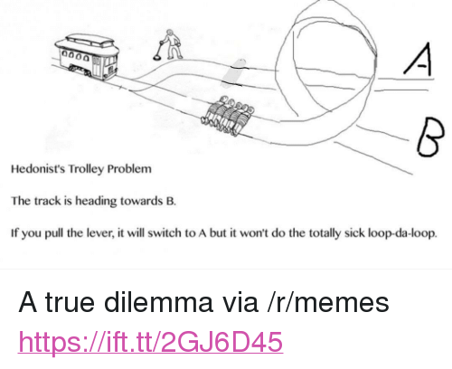 """Memes, True, and Sick: Hedonist's Trolley Problem  The track is heading towards B.  If you pull the lever, it will switch to A but it won't do the totally sick loop-da-loop. <p>A true dilemma via /r/memes <a href=""""https://ift.tt/2GJ6D45"""">https://ift.tt/2GJ6D45</a></p>"""