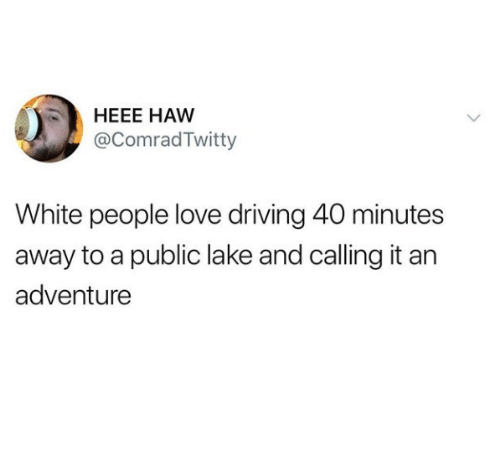 Driving, Love, and White People: HEEE HAW  @ComradTwitty  White people love driving 40 minutes  away to a public lake and calling it an  adventure