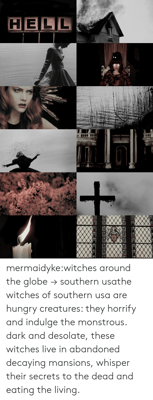 Hungry, Tumblr, and Blog: HELL mermaidyke:witches around the globe → southern usathe witches of southern usa are hungry creatures: they horrify and indulge the monstrous. dark and desolate, these witches live in abandoned decaying mansions, whisper their secrets to the dead and eating the living.