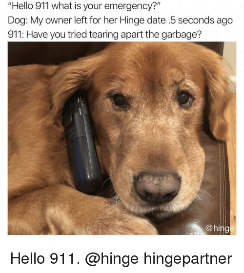"""Hello, Date, and What Is: """"Hello 911 what is your emergency?""""  Dog: My owner left for her Hinge date .5 seconds ago  911: Have you tried tearing apart the garbage?  @hing Hello 911. @hinge hingepartner"""