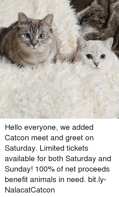 Anaconda, Animals, and Hello: Hello everyone, we added Catcon meet and greet on Saturday. Limited tickets available for both Saturday and Sunday! 100% of net proceeds benefit animals in need. bit.ly-NalacatCatcon