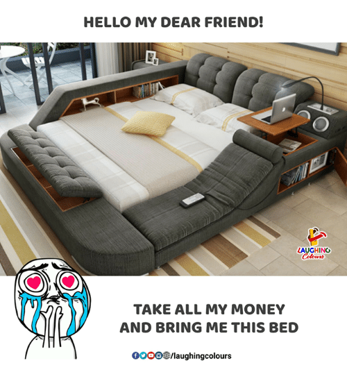 Gooo, Hello, and Money: HELLO MY DEAR FRIEND!  AUGHING  TAKE ALL MY MONEY  AND BRING ME THIS BED  GOOO/laughingcolours