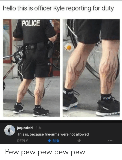 Not Allowed: hello this is officer Kyle reporting for duty  POLICE  jaqueskahl 21h  This is, because fire-arms were not allowed  REPLY  310 Pew pew pew pew pew