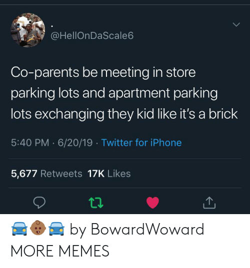 Iphone 5: @HellOnDaScale6  Co-parents be meeting in store  parking lots and apartment parking  lots exchanging they kid like it's a brick  5:40 PM 6/20/19 Twitter for iPhone  5,677 Retweets 17K Likes 🚘👶🏾🚘 by BowardWoward MORE MEMES