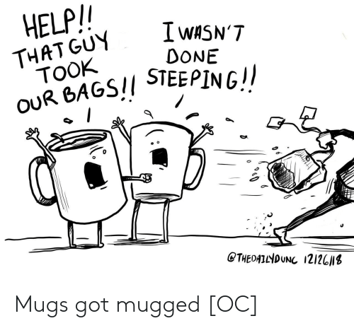 Help, Got, and Bags: HELP/  I wASN'T  DONE  THAT GUY  TOOK  OUR BAGS!/ STEEPINGI  0  CTHEDATNDUNC 121201s Mugs got mugged [OC]
