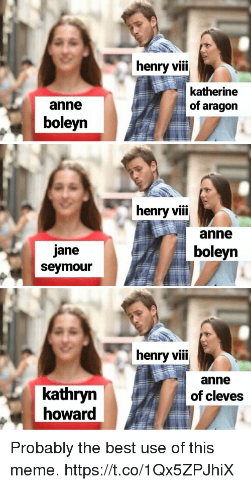 Meme, Best, and Henry VIII: henry viii  katherine  of aragon  anne  boleyn   henry vii  anne  jane  seymour  boleyn   henry vii  anne  of cleves  kathryn  howard Probably the best use of this meme. https://t.co/1Qx5ZPJhiX