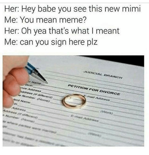 Mean Memes: Her: Hey babe you see this new mimi  Me: You mean meme?  Her: Oh yea that's what I meant  Me: can you sign here plz  JUDICIAL BRANCH  PETITION FOR DIVORCE  Address