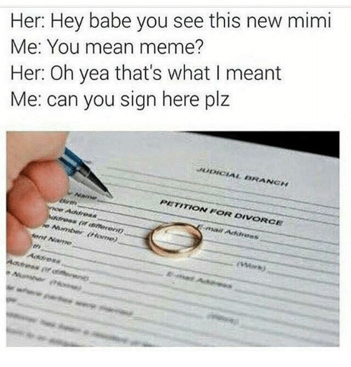 Mean Memes: Her: Hey babe you see this new mimi  Me: You mean meme?  Her: Oh yea that's what I meant  Me: can you sign here plz  PETITION FOR DIVORCE  Ment  Name