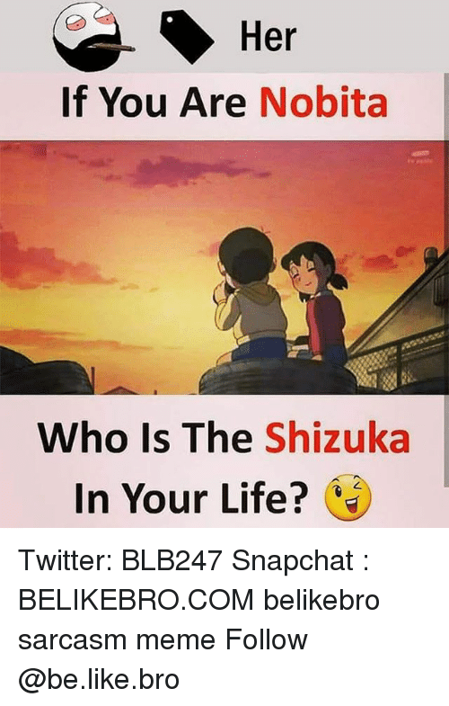 Be Like, Life, and Meme: Her  If You Are Nobita  Who Is The Shizuka  In Your Life? Twitter: BLB247 Snapchat : BELIKEBRO.COM belikebro sarcasm meme Follow @be.like.bro