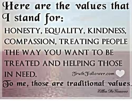 Equalizer: Here are the values that  CI stand for:  HONESTY, EQUALITY, KINDNESS,  COMPASSION, TREATING PEOPLE  THE WAY YOU WANT TO BE  TREATED AND HELPING THOSE  IN NEED  orutha olCower.com  Oo me, those are traditional values.  DeGeneres