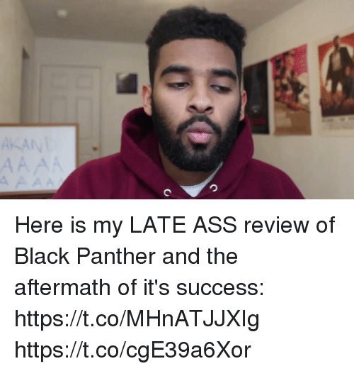Ass, Funny, and Black: Here is my LATE ASS review of Black Panther and the aftermath of it's success: https://t.co/MHnATJJXIg https://t.co/cgE39a6Xor