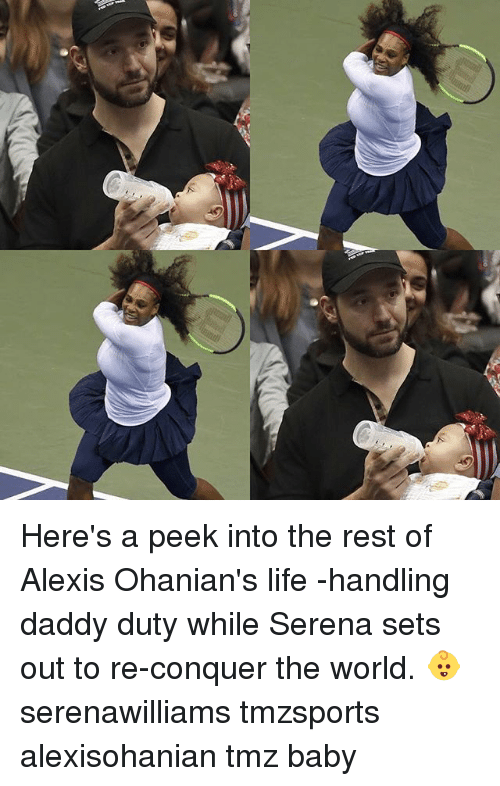 Life, Memes, and World: Here's a peek into the rest of Alexis Ohanian's life -handling daddy duty while Serena sets out to re-conquer the world. 👶 serenawilliams tmzsports alexisohanian tmz baby