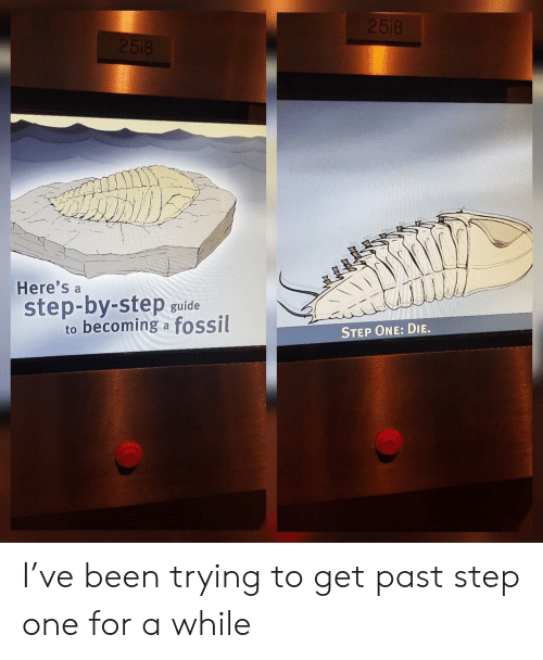 Fossil, Been, and Step: Here's a  step-by-step guide  to becoming a fossil  STEP ONE: DIE. I've been trying to get past step one for a while