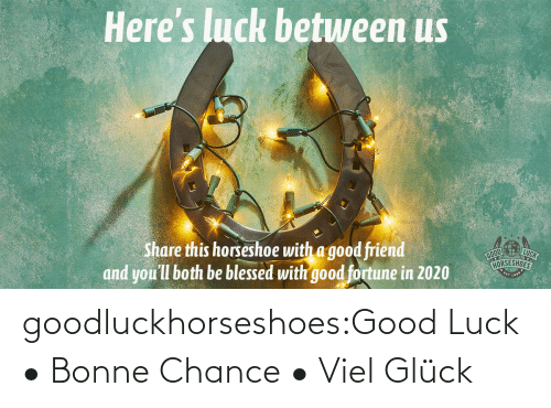 Heres: Here's luck betuween us  LUCK  Share this horseshoe with a good friend  and you'll both be blessed with good fortune in 2020  HORSESHOES goodluckhorseshoes:Good Luck • Bonne Chance • Viel Glück