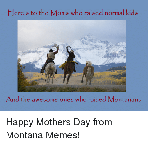Meme, Memes, and Moms: Here's to the Moms who raised  normal kids  And the awesome ones who raised Montanans Happy Mothers Day from Montana Memes!
