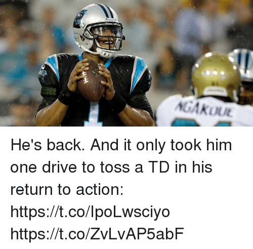 Memes, Drive, and Back: He's back.  And it only took him one drive to toss a TD in his return to action: https://t.co/IpoLwsciyo https://t.co/ZvLvAP5abF