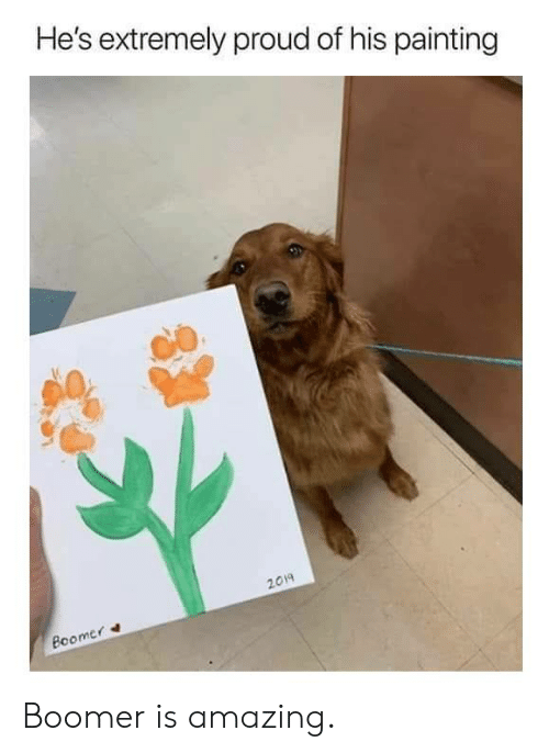 Dank, Amazing, and Proud: He's extremely proud of his painting  2019  mer  Rco Boomer is amazing.