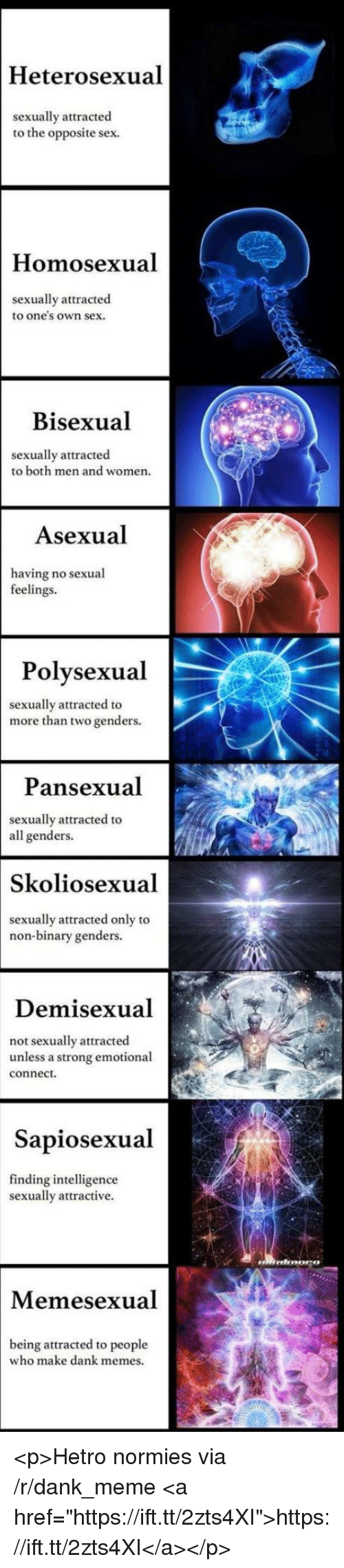 """Dank, Meme, and Memes: Heterosexual  sexually attracted  to the opposite sex.  Homosexual  sexually attracted  to one's own sex.  Bisexual  sexually attracted  to both men and women.  Asexual  having no sexual  feelings.  Polvsexual  sexually attracted to  more than two genders.  Pansexual  sexually attracted to  all genders.  Skoliosexual  sexually attracted only to  non-binary genders.  Demisexual  ot sexually attracted  unless a strong emotional  connect.  Sapiosexual  finding intelligence  sexually attractive.  Memesexual  being attracted to people  who make dank memes. <p>Hetro normies via /r/dank_meme <a href=""""https://ift.tt/2zts4XI"""">https://ift.tt/2zts4XI</a></p>"""
