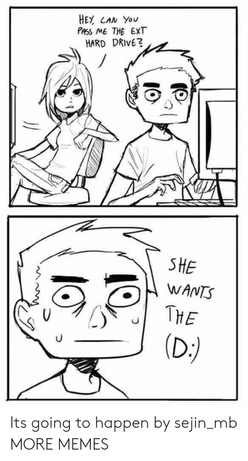 she wants: HEY CAN You  PASS ME THE EXT  HARD DRIVE?  SHE  WANTS  THE  (D:) Its going to happen by sejin_mb MORE MEMES