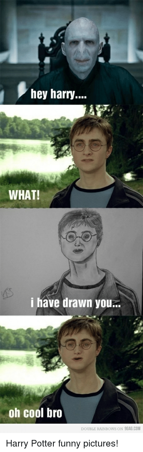 rainbows: hey harry...  WHAT!  i have drawn you..  oh cool bro  DOUBLE RAINBOWS ON 9GAG.COM Harry Potter funny pictures!