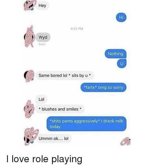 Bored, Lol, and Love: Hey  Hi  4:51 PM  Seen  Nothing  Same bored lol sits by u  farts* omg so sorry  Lol  * blushes and smiles  shits pants aggressively I drank milk  today  Ummm ok... lol I love role playing