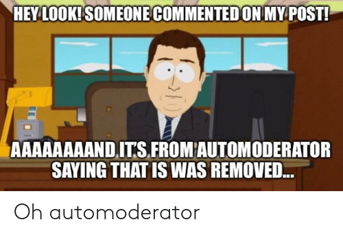 Post, Look, and Hey: HEY LOOK! SOMEONE COMMENTED ON MY POST!  AAAAAAAAND ITS FROM AUTOMODERATOR  SAYING THAT IS WAS REMOVED. Oh automoderator