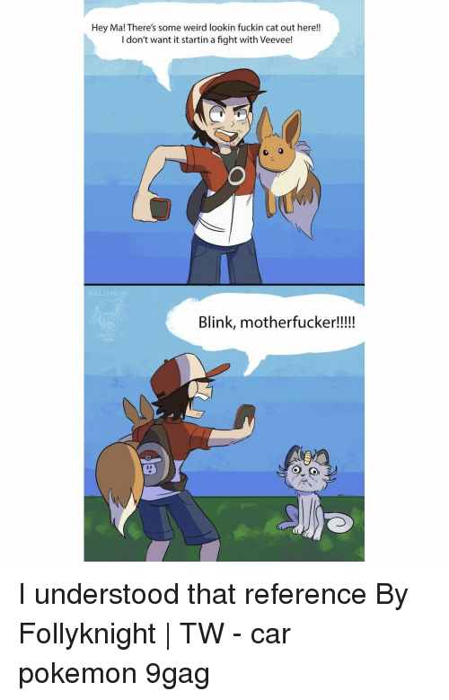 9gag, Memes, and Pokemon: Hey Ma! There's some weird lookin fuckin cat out here!!  I don't want it startin a fight with Veevee!  Blink, motherfucker!!!!  LINDSEY K I understood that reference⠀ By Follyknight   TW⠀ -⠀ car pokemon 9gag