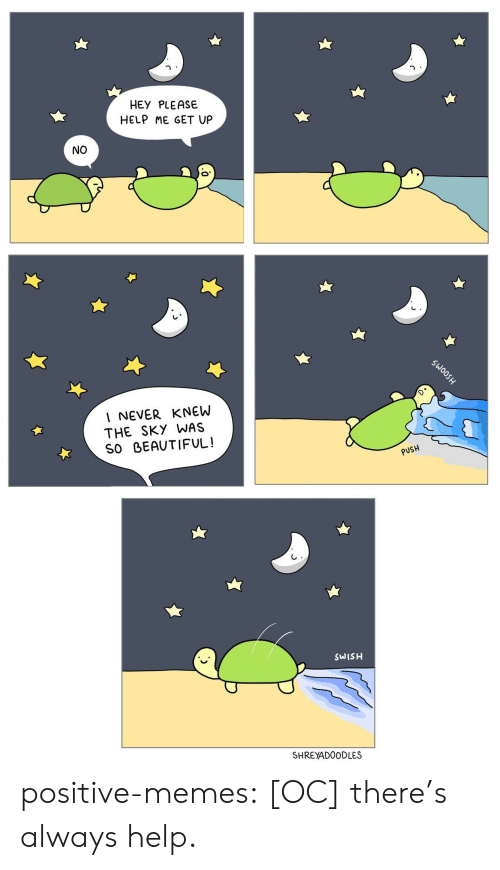 Swish: HEY PLEASE  HELP ME GET UP  NO  I NEVER KNEW  THE SKY WAS  SO BEAUTIFUL!  PUSH  SWISH  SHREYADOODLES positive-memes:  [OC] there's always help.